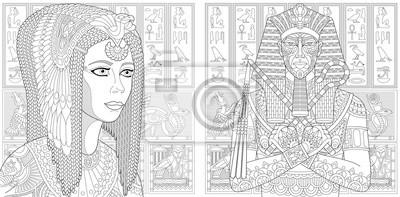 Kolekcja Kolorowanek Faraona I Krolowej Kleopatry Freehand Szkic