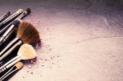Fototapeta Kolekcja profesjonalnych pędzli do makijażu