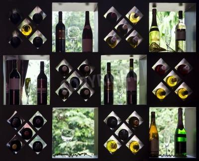 Fototapeta Kolekcja wina na drewnianych półkach z butelki i kieliszki