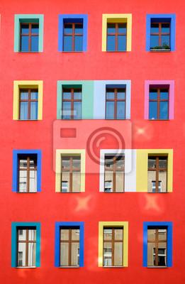 Kolorowa Fasada Budynku Czerwony Fototapeta Fototapety Berlin