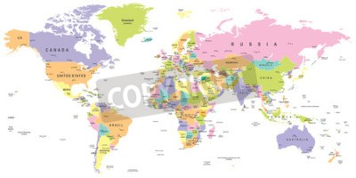 Fototapeta Kolorowa mapa świata - granice, kraje i miasta - ilustracja