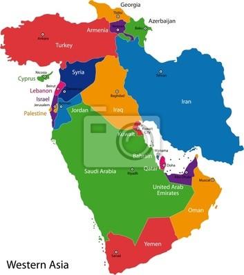 Kolorowa Mapa Z Państwami Azji Zachodniej I Stolic Fototapeta