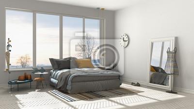 Fototapeta Kolorowa Nowoczesna Biała Sypialnia Z Dużym Oknem Panoramicznym