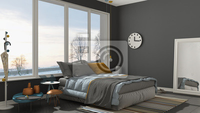 Fototapeta Kolorowa Nowoczesna Szara Sypialnia Z Dużym Oknem Panoramicznym
