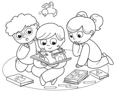 Fototapeta Kolorowanie ilustracji przyjaciół czyta książkę pop-up razem.