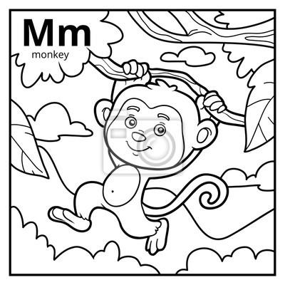Kolorowanka Bezbarwny Alfabet Litera M Małpa Fototapeta