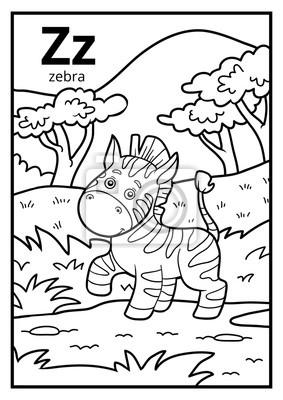 Kolorowanka Bezbarwny Alfabet Litera Z Zebra Fototapeta