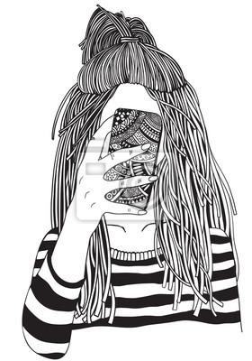 Kolorowanka Dla Doroslych Mloda Kobieta Czarno Bialy Ilustracja