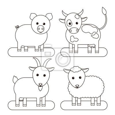 Kolorowanka Dla Dzieci Krowa Swinia Koza I Owca Ilustracji