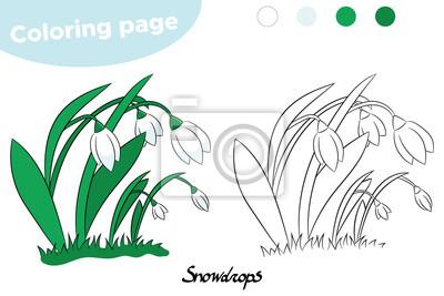 Kolorowanka Dla Dzieci Wiosenne Kwiaty Przebiśniegi Ręcznie