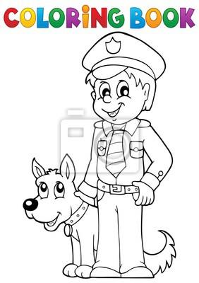 Kolorowanka Policjant Ze Strazy Psa Fototapeta Fototapety