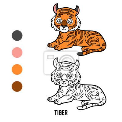 Kolorowanka Tygrys Fototapeta Fototapety Rysunek Lato