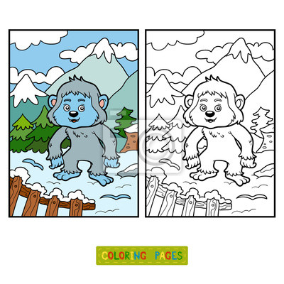 Coloring Book Colorless Alphabet Letter Y Yeti Stock Vector