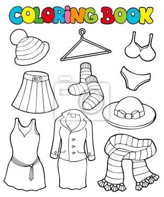 Kolorowanka z różnych ubrania Fototapeta • Fototapety skarpetka ...