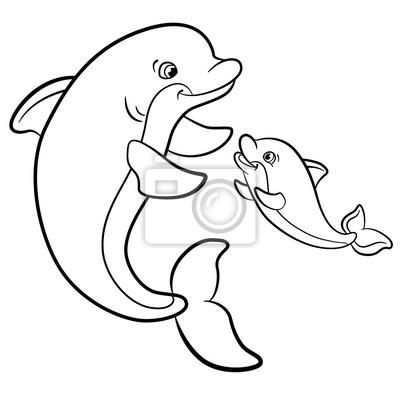 Kolorowanki Marine Dzikich Zwierzat Matka Delfin Plywa Z Nia