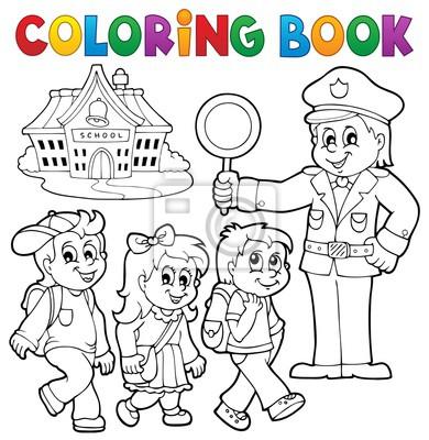 Kolorowanki Uczniowie I Policjant Fototapeta Fototapety