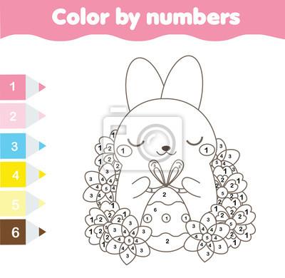 Kolorowanki Wielkanocne Kolor Wedlug Numerow Arkusz Roboczy