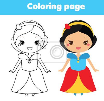 Kolorowanki Z Cute Ksiezniczka W Stylu Kawaii Rysowanie Gry