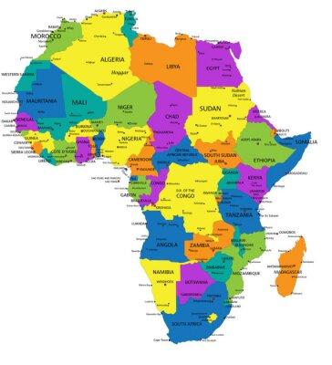 Kolorowe Afryka Mapa Polityczna Z Wyraznie Oznakowanych