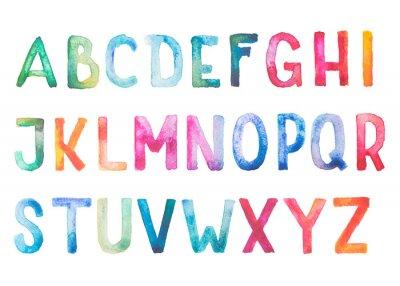 Fototapeta Kolorowe akwarela akwarela typ czcionki ręcznie wyciągnąć rękę
