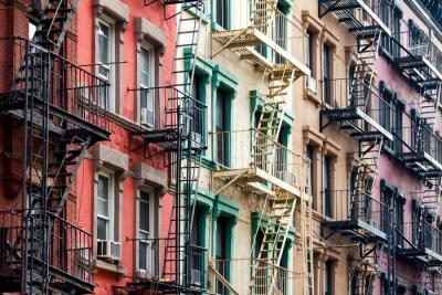 Fototapeta Kolorowe budynków mieszkalnych w Nowym Jorku