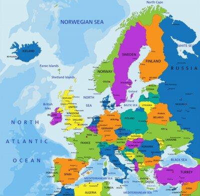 Kolorowe Europa Mapa Polityczna Z Wyraznie Oznakowanych