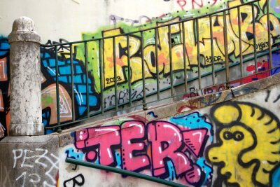 Fototapeta kolorowe graffiti na ścianie