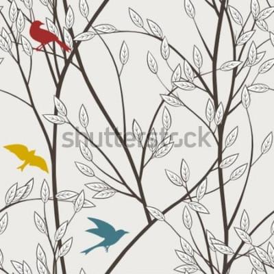 Fototapeta kolorowe ptaki i gałęzie