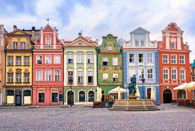 Fototapeta Kolorowe renesansowe fasady na centralnym rynku w Poz
