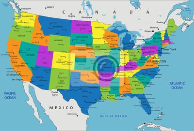 Kolorowe Stany Zjednoczone Ameryki Polityczna Mapa Wyraznie