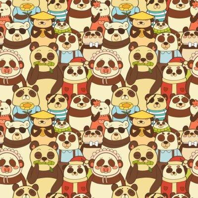 Fototapeta Kolorowe szwu z zabawnymi pand
