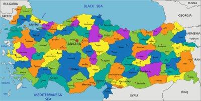 Kolorowe Turcja Mapa Polityczna Z Wyraznie Oznakowane