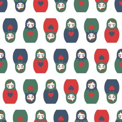 Fototapeta Kolorowe Zagnieżdżone lalka szwu. Śliczne drewniane Rosyjska lalka - Matrioszka. Zagnieżdżone lalka Matrioszka ilustracji samodzielnie na białym tle.