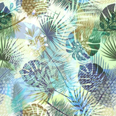 Fototapeta Kolorowy modny egzotyczny wzór z roślin tropikalnych i ręcznie rysowane tekstury. Nowoczesny abstrakcyjny wzór papieru, tapety, okładki, tkaniny i innych użytkowników. Ilustracji wektorowych.