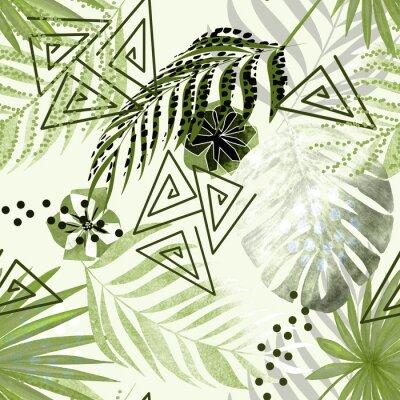 Fototapeta Kolorowy tropikalny wzór. Zielone liście palmowe, kwiaty białe tło.