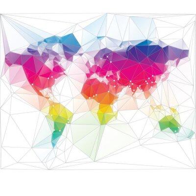 Fototapeta kolorowy wzór trójkąta mapie świata