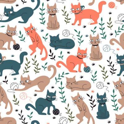 Fototapeta Kolorowy wzór z kotów i liści.