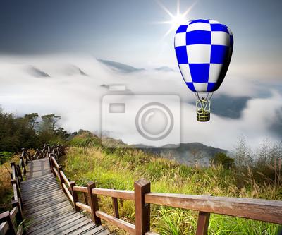 Fototapeta kolorowych balonów na ogrzane powietrze z ładnym tle