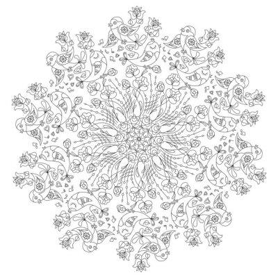 Fototapeta Kołowy wzór z ptaków i kwiaty w stylu Doodle