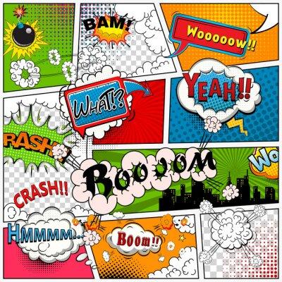 Fototapeta Komiks Strona podzielona przez linie z dymki, dźwięki efekt. Retro tle makiety. Komiksy szablonu.