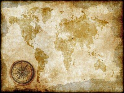 Fototapeta kompas z rocznika mapie