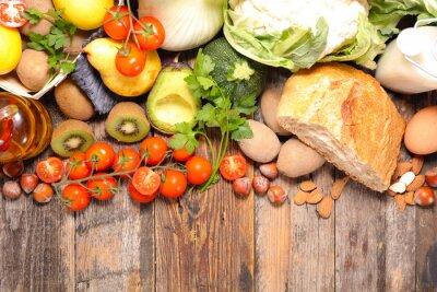 Fototapeta Kompozycja z diety i zdrowej żywności