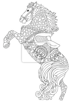 Koń Ręcznie Rysowane Zdjęcie Szkic Do Antystresowej Kolorowanki