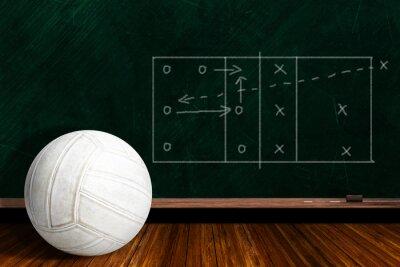 Fototapeta Koncepcja gra z siatkówki i Chalk Board Gra strategii