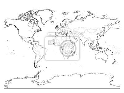 Kontur Mapy Swiata Cienkie Granice Kraju I Gesty Kontur Ziemi