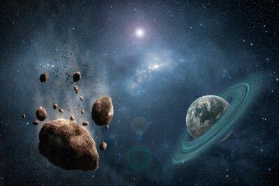 Fototapeta Kosmos sceny z asteroid, planety i Mgławica w przestrzeni