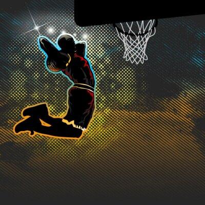 Fototapeta Koszykarz przechodzi przez dwa ręką dunk