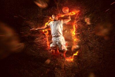 Fototapeta Koszykówka w ogniu