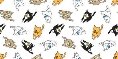 Fototapeta kot Bez szwu deseń wektor kotek perkal ryby łosoś kreskówka szalik na białym tle płytki powtórzyć tapety doodle ilustracji