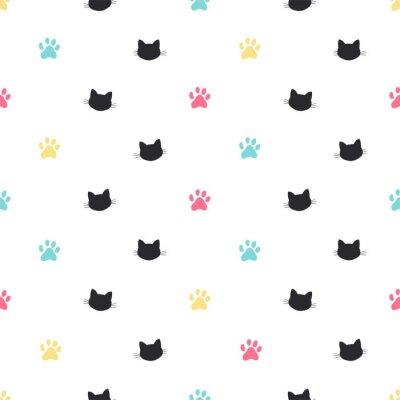 Fototapeta kot łapa śledzić wektor wzór
